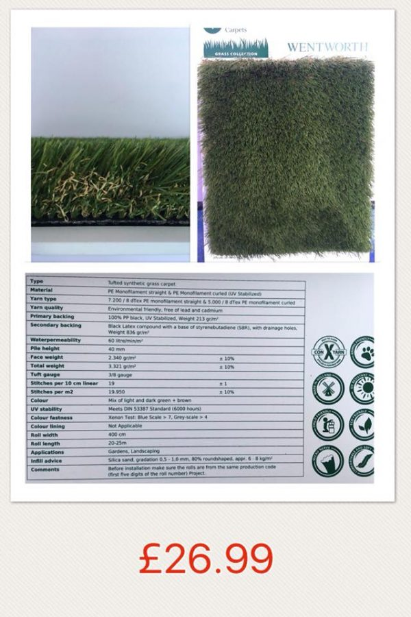 Wentworth artificial grass sale Southampton